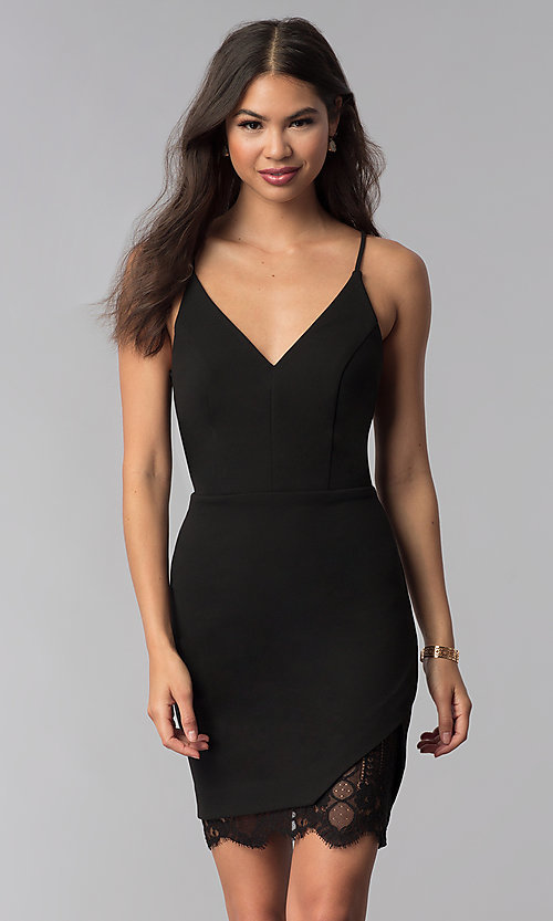 Image of v-neck little black dress with lace back. Style: CT-7711NQ3BT3 Front Image