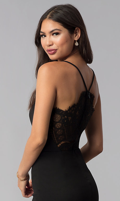 Image of v-neck little black dress with lace back. Style: CT-7711NQ3BT3 Detail Image 2