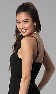 Image of black cocktail party flounce-hem short dress. Style: CT-7711PD7AT3 Detail Image 2