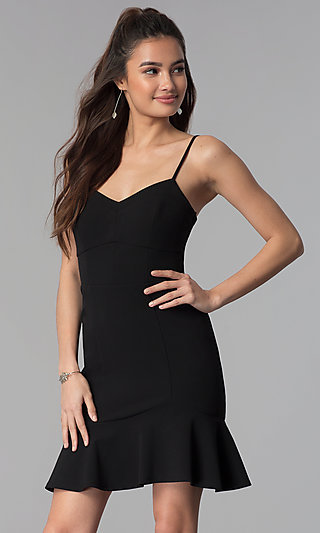 Black Cocktail Party Flounce-Hem Short Dress
