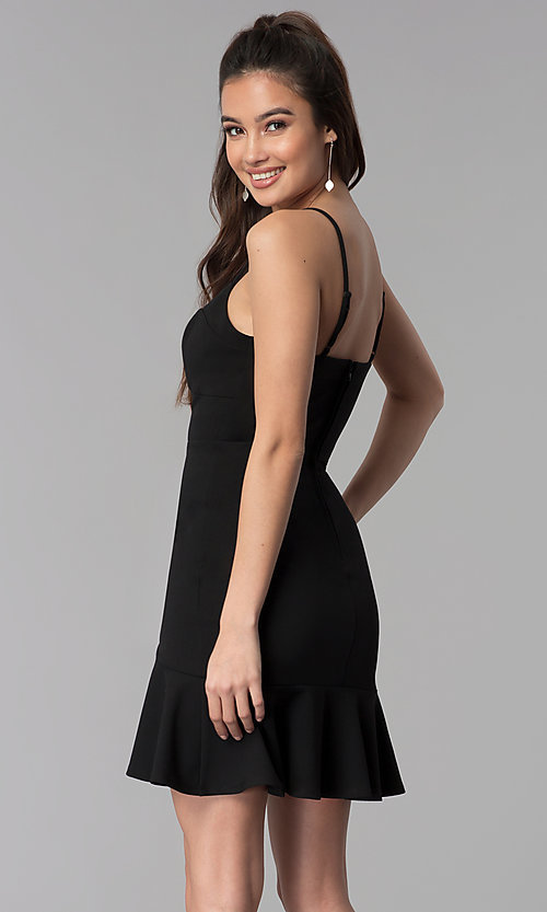 Image of black cocktail party flounce-hem short dress. Style: CT-7711PD7AT3 Back Image