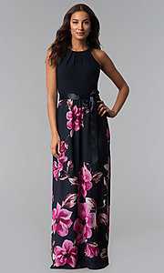 Image of long navy blue floral-print wedding-guest dress. Style: IT-SL171107 Front Image