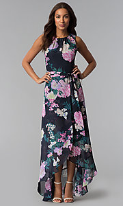 Image of floral-print high-low wedding-guest dress with tie. Style: IT-SL171131 Detail Image 1