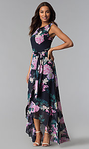 Image of floral-print high-low wedding-guest dress with tie. Style: IT-SL171131 Front Image