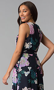 Image of floral-print high-low wedding-guest dress with tie. Style: IT-SL171131 Detail Image 3