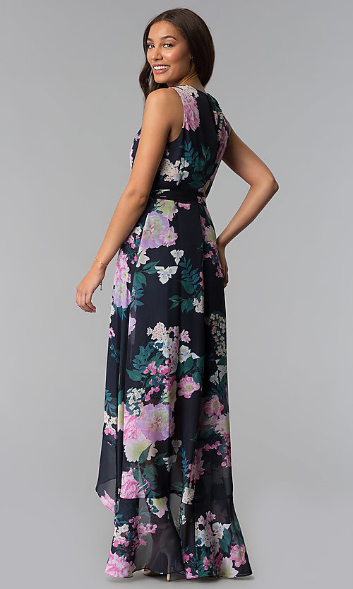 Image of floral-print high-low wedding-guest dress with tie. Style: IT-SL171131 Back Image