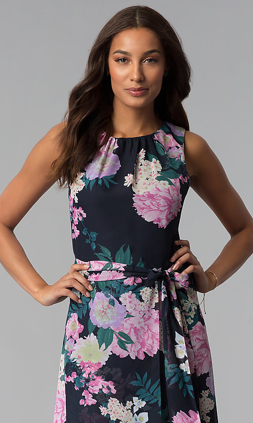 Image of floral-print high-low wedding-guest dress with tie. Style: IT-SL171131 Detail Image 2