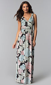 Image of floral-print long chiffon wedding-guest dress. Style: IT-SL156101 Front Image
