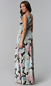 Image of floral-print long chiffon wedding-guest dress. Style: IT-SL156101 Back Image