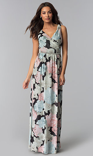 Floral-Print Long Chiffon Wedding-Guest Dress