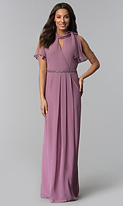 Image of long mother-of-the-bride dress in sugar plum purple. Style: IT-SL170144 Front Image