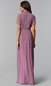 Image of long mother-of-the-bride dress in sugar plum purple. Style: IT-SL170144 Back Image