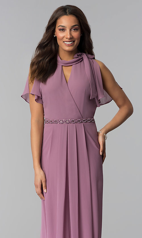 Image of long mother-of-the-bride dress in sugar plum purple. Style: IT-SL170144 Detail Image 1