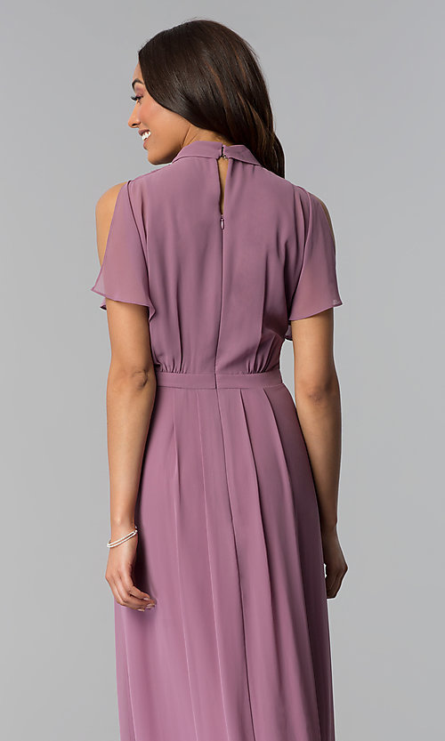 Image of long mother-of-the-bride dress in sugar plum purple. Style: IT-SL170144 Detail Image 2