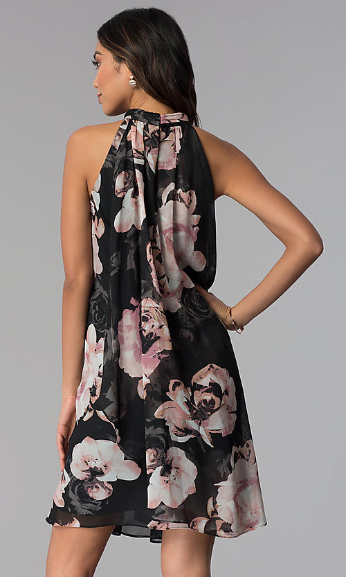 Image of high-neck shift short floral-print party dress. Style: IT-9171214 Back Image