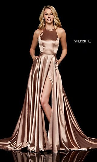sherri hill highneck long prom dress with pockets