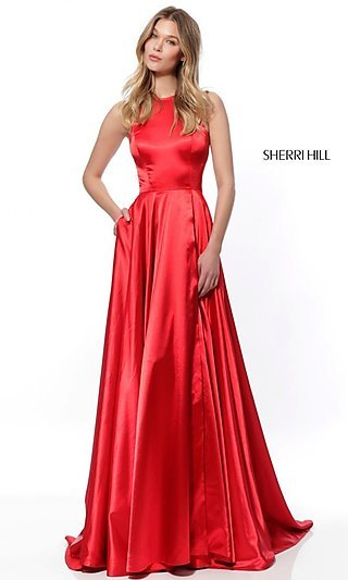 short red organza one shoulder dress