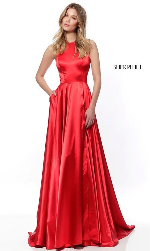f818f08239d Image of high-neck Sherri Hill long prom dress with pockets. Style  SH
