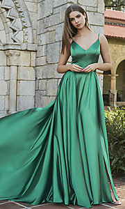 Image of long v-neck prom dress with slit. Style: SH-52119 Front Image