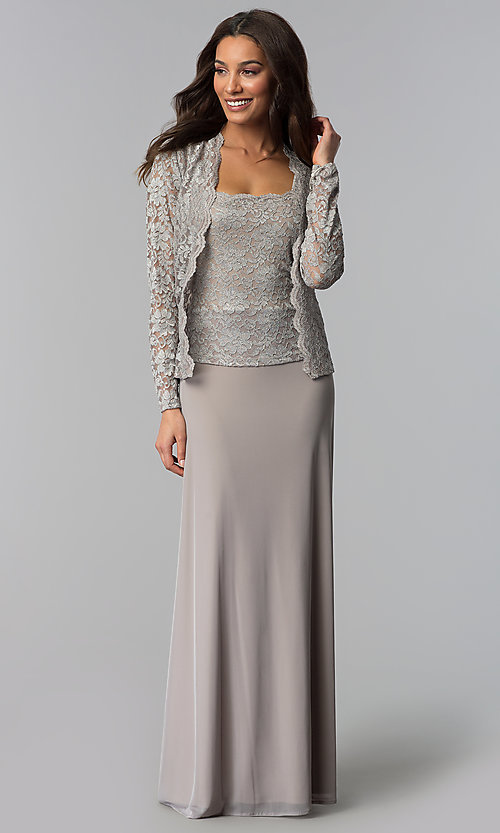 Image of mother-of-the-bride lace-bodice dress with jacket. Style: JU-ON-649852 Detail Image 3