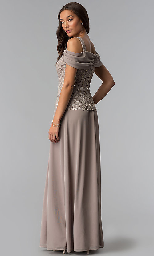 e59e039c13c Image of mother-of-the-bride cold-shoulder long dress. Style