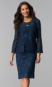 Image of sequin-lace mother-of-the-bride dress with jacket.  Style: JU-ON-649995 Front Image