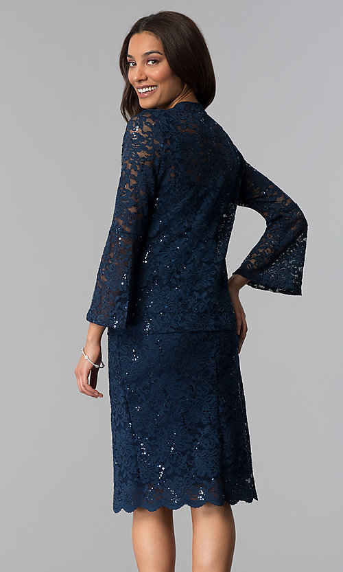 Image of sequin-lace mother-of-the-bride dress with jacket.  Style: JU-ON-649995 Back Image