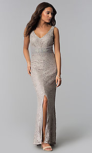 Image of sequin-lace long taupe mother-of-the-bride dress. Style: JU-ON-649989 Front Image