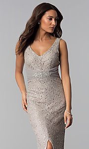 Image of sequin-lace long taupe mother-of-the-bride dress. Style: JU-ON-649989 Detail Image 1