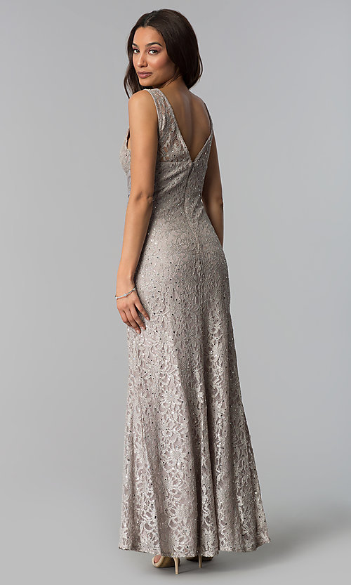 Image of sequin-lace long taupe mother-of-the-bride dress. Style: JU-ON-649989 Back Image