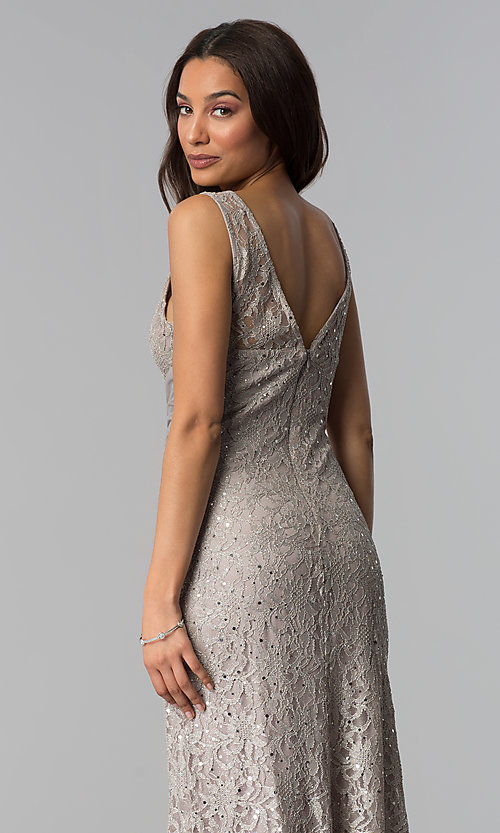 Image of sequin-lace long taupe mother-of-the-bride dress. Style: JU-ON-649989 Detail Image 2