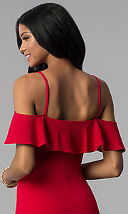 Image of off-shoulder short flounce-trimmed red party dress. Style: EM-FRD-3405-600 Detail Image 2
