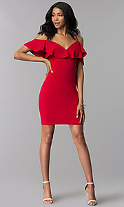 Image of off-shoulder short flounce-trimmed red party dress. Style: EM-FRD-3405-600 Detail Image 3