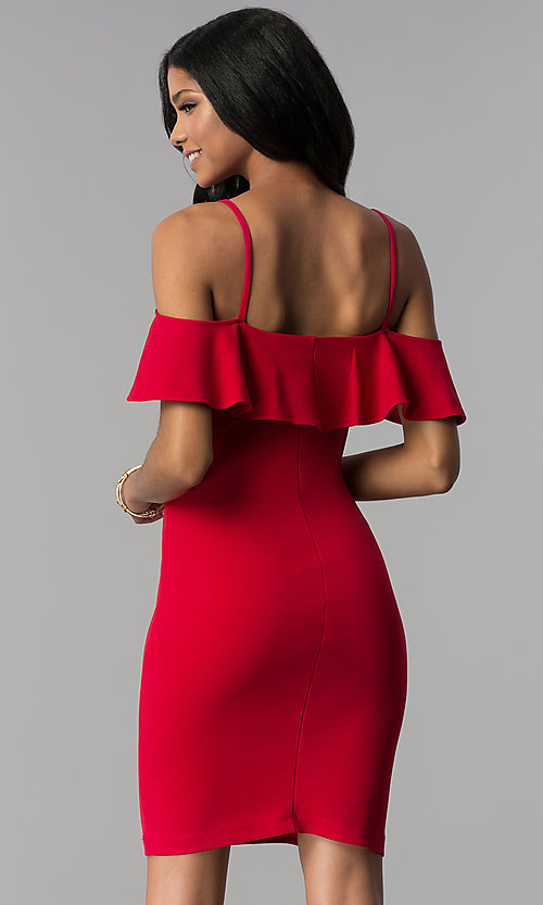 Image of off-shoulder short flounce-trimmed red party dress. Style: EM-FRD-3405-600 Back Image