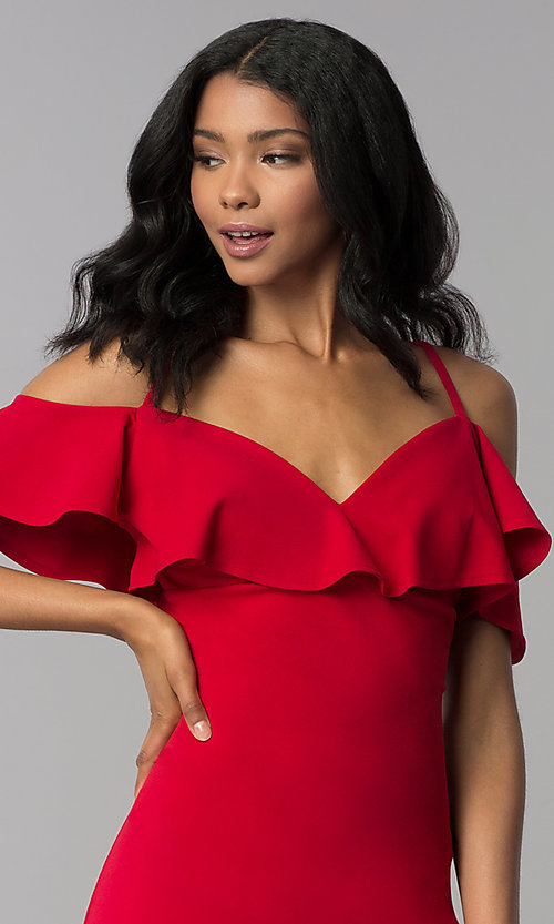 Image of off-shoulder short flounce-trimmed red party dress. Style: EM-FRD-3405-600 Detail Image 1