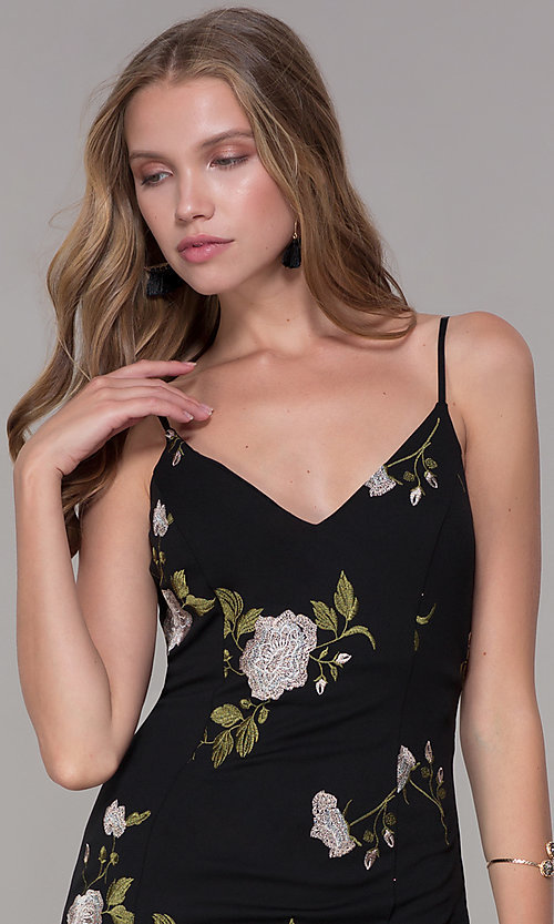 Image of short v-neck embroidered black party dress. Style: EM-FXH-3222-013 Detail Image 1
