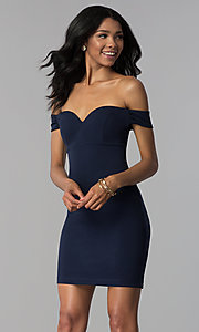 Image of empire-waist off-the-shoulder navy blue party dress. Style: EM-FZT-3405-430 Front Image