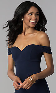 Image of empire-waist off-the-shoulder navy blue party dress. Style: EM-FZT-3405-430 Detail Image 1