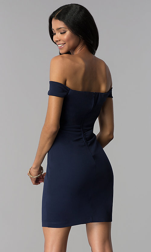 Image of empire-waist off-the-shoulder navy blue party dress. Style: EM-FZT-3405-430 Back Image