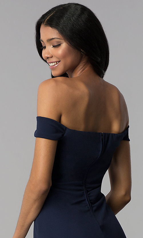 Image of empire-waist off-the-shoulder navy blue party dress. Style: EM-FZT-3405-430 Detail Image 2