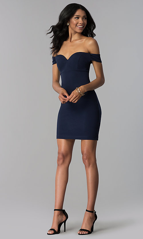 Image of empire-waist off-the-shoulder navy blue party dress. Style: EM-FZT-3405-430 Detail Image 3