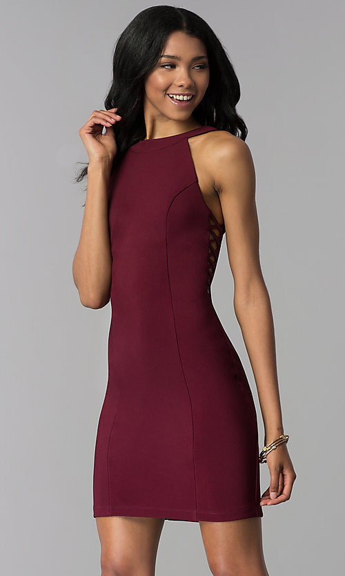 Image of princess-cut short party dress in wine red. Style: EM-EOS-1027-562 Front Image