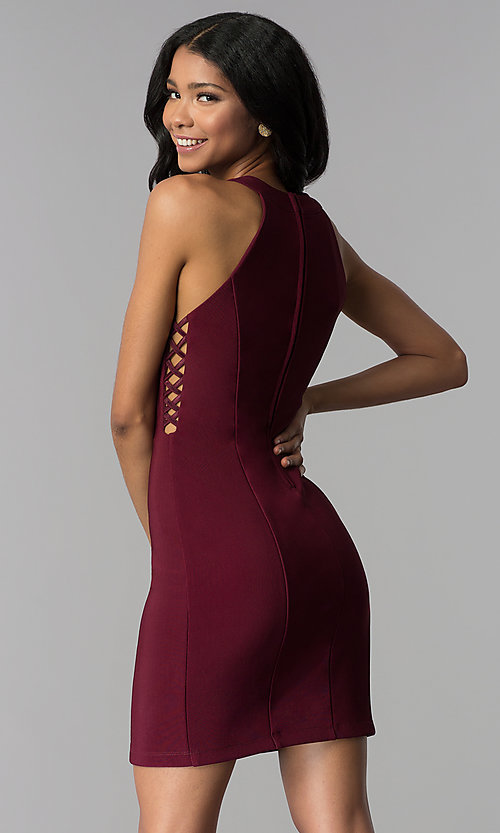 Image of princess-cut short party dress in wine red. Style: EM-EOS-1027-562 Back Image