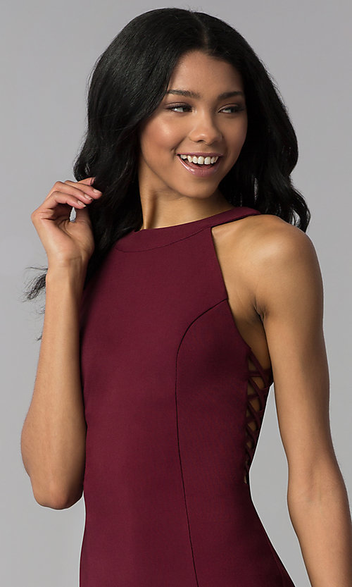 Image of princess-cut short party dress in wine red. Style: EM-EOS-1027-562 Detail Image 1