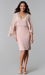 Image of short mother-of-the-bride dress with attached cape. Style: IT-SL113127 Detail Image 2