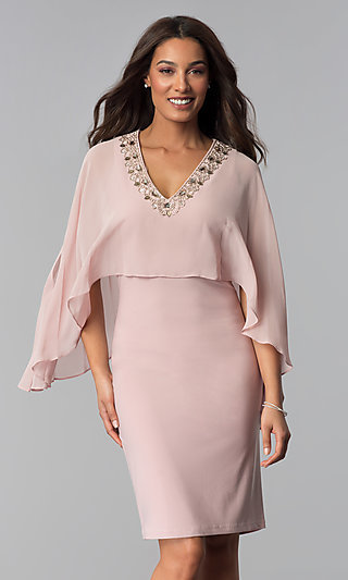 Short Mother-of-the-Bride Dress with Attached Cape