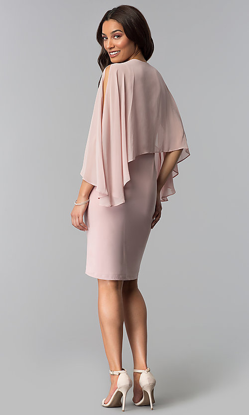 Image of short mother-of-the-bride dress with attached cape. Style: IT-SL113127 Detail Image 3