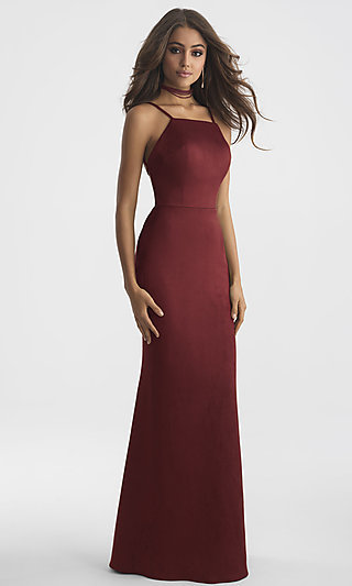 Long Suede High-Neck Madison James Prom Dress