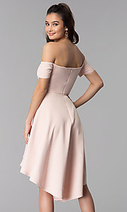 Image of off-the-shoulder high-low wedding guest party dress. Style: DMO-J320957 Back Image