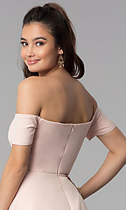 Image of off-the-shoulder high-low wedding guest party dress. Style: DMO-J320957 Detail Image 2